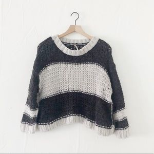 Free People Gray/Cream Knit Sweater Size XS